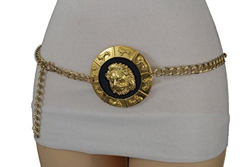 TFJ Women Fashion Belt Metal Chain Hip High Waist Lion Buckle Plus M L XL Gold ()