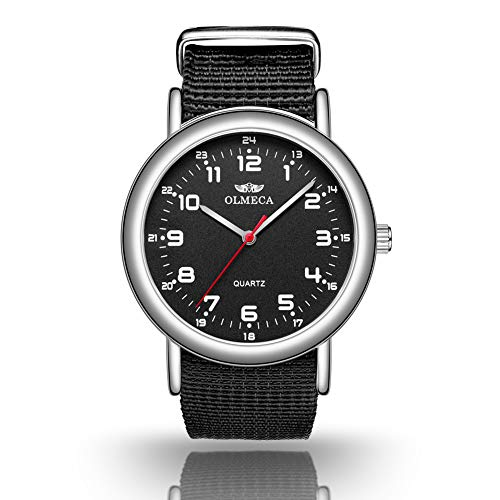 OLMECA Men's Watches Luxury Wristwatches Fashion Design Dial - Japanese Quartz Movement - Replaceable Multi-Color Striped Nylon Band - Black Color