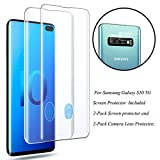 Galaxy S10 5G (6.7'') Clear Screen Protector with Camera Lens Protector, [Case Friendly][9H Hardness][ Fingerprint Unlocking][Bubble-Free] Tempered Glass Screen Protector for Samsung Galaxy S10 5G