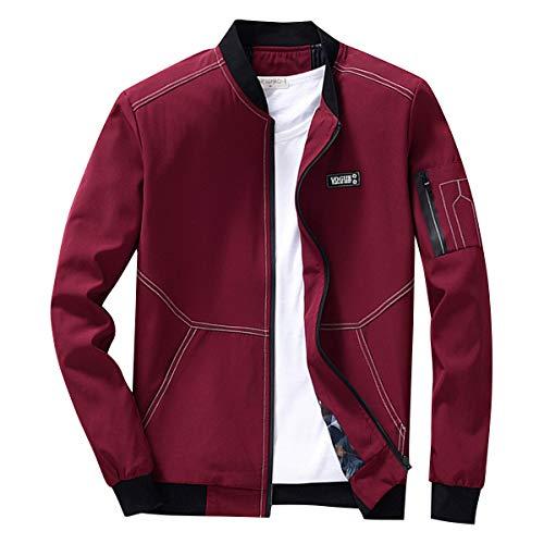 Earlish Men's Long Sleeve Slim Fit Lightweight Bike Motocycle Cotton Bomber Jacket, Red1, Tagsize3XL=USsizeM