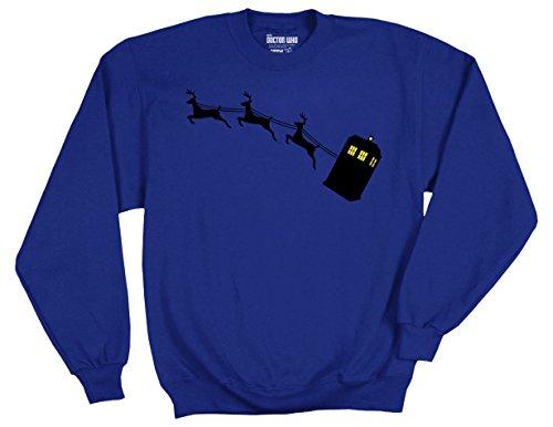 Ripple Junction Doctor Who Tardis and Reindeer Adult Sweatshirt Medium Royal (Tardis Sweatshirt)