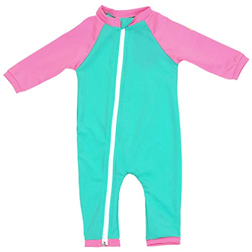 - Nozone Full Zip Sun Protective Baby Swimsuit in Opal/Bouquet, 6-12 Months
