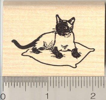 Siamese Applehead Cat Rubber Stamp