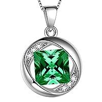 Aurora Tears Birthstone Necklace/Earrings/Ring/Bracelet Women 925 Sterling Silver Round/Heart Birth Stone Pendant/Studs/Drop Earring Mens Birthday Jewelry Bridal Present
