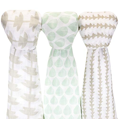 (Muslin Cotton Baby Swaddle Blankets, Large 3 Pack Green Brown Hand-Drawn Designs)
