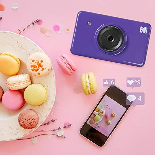 KODAK Instant Digital Camera & Portable Photo Printer (Purple) with Photo Printer Cartridge, Soft Camera case, Zink Paper Unique Colorful Stickers & Photo Album Accessories