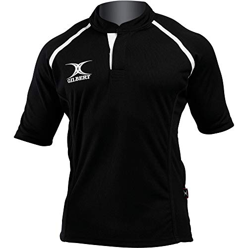 Gilbert Rugby Shirts - Gilbert Rugby Mens Xact Short Sleeved Rugby Shirt (M) (Black)