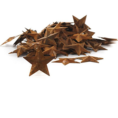 Factory Direct Craft Package of 100 Rusted Tin Dimensional Miniature Barn Stars with Hole and Hollow -