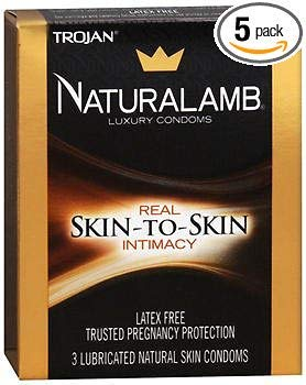 Trojan Naturalamb Natural Skin Lubricated Luxury Condoms - 3 ct, Pack of 5 (Naturalamb Trojan Condoms)