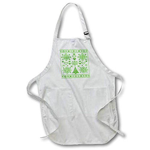 (Yrmsun Funny Apron for Men Cross Stitch Sampler Christmas Cross Stitch Embroidery Sampler Green And Work Adjustable Pattern Aprons with Pockets for Home Shop Kitchen BBQ Cooking)