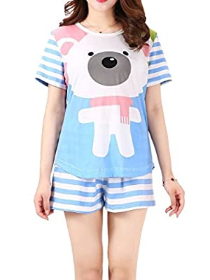 VENTELAN Women's Cute Bear Print Pajama Sets Round Neck Stripes Short Sleepwear