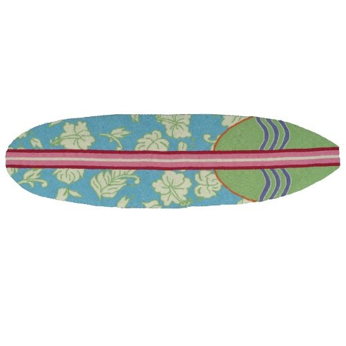 Homefires Accents Surfboard Hawaiian Turquoise 20-Inch by 72-Inch Indoor Rug,