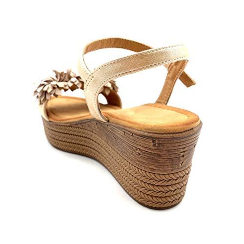 7 Moda Donna Sandali Cm Matrimonio Comfortable Scarpe Zeppe Zeppa Cerimonia Tacco Fiori Pon Angkorly Beige Piattaforma Mules Uqf56