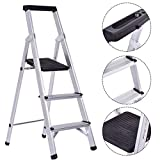 Giantex Folding 3 Step Ladder Aluminum Non-Slip Work Stool Platform 330Lbs Load Capacity, Black
