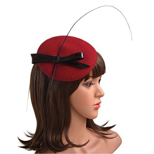 Krastal Women Fascinators Wool Bowknot Pillbox Cocktail Wedding Hats Hair Accessories (Feather Fancy Red Wool Hat)