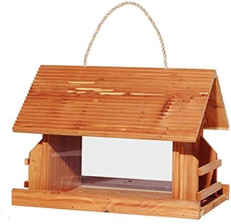 庭用屋外フィーダー 自立型伝統的な木製耐候性スイングバードフィーダー屋外装飾バードフィーダーハウジングデザイン 森林の荒野に適しているか、庭に設置されている (色 : 黄, サイズ : Free size)