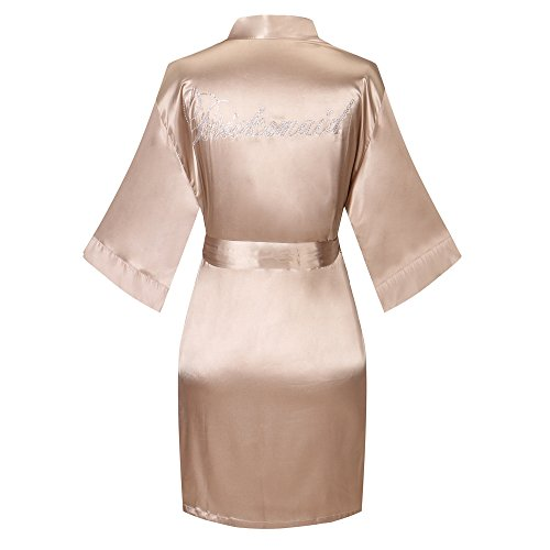 Yukata Satin Wedding Robes With Clear Rhinestones-Bridesmaid Edition, Khaki M