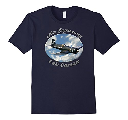 Mens F4U Corsair Air Supremacy T-Shirt Large Navy (Colors F4u Corsair)