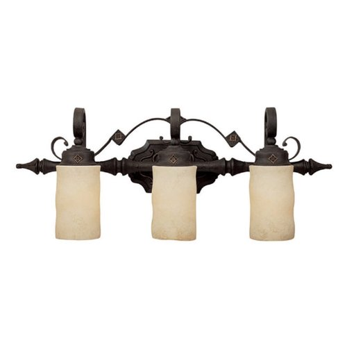 - Capital Lighting 1903RI-125 Vanity with Rust Scavo Glass Shades, Rustic Iron Finish