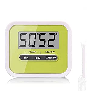 EXOX Electronic Digital Timer Large LCD Display Loud Alarm Digital Minute/Second Timer Green