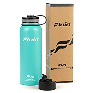 Insulated Stainless Steel Water Bottle By Fluid Sports (Teal Blast) - 40 Oz, Wide Mouth, BPA Free, Bonus Flip-top Lid Included
