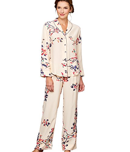 Julianna Rae Women's 100% Silk Print Pajamas, Natalya Collection, Sonnet