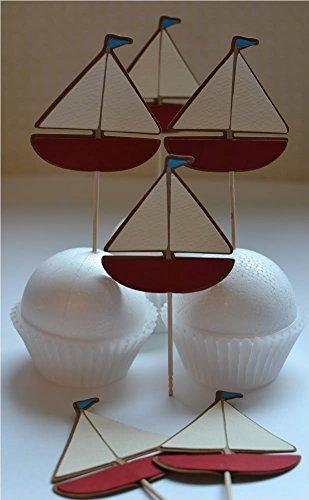 Themed Sailboat Nautical (Ahoy Nautical themed Sailboat cupcake toppers set of 12)