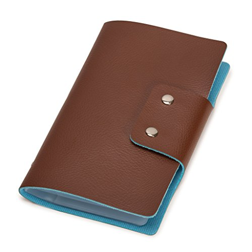 96 Business Card File - Leatherette Business Card/Credit Card Organizer Book - 96 Cell - 188 Card Capacity