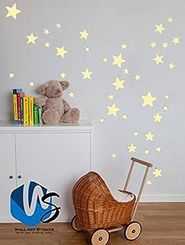 8 stars 7cm x 7cm Taille mixtes ?toiles Stickers muraux Autocollant Kid Art Chambre denfant D?coration chambre coucher en vinyle beige