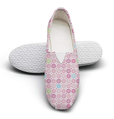 Women's Cotton Espadrille Pink Ribbon Flowers Yellow Checkered Pattern Soft Shoes