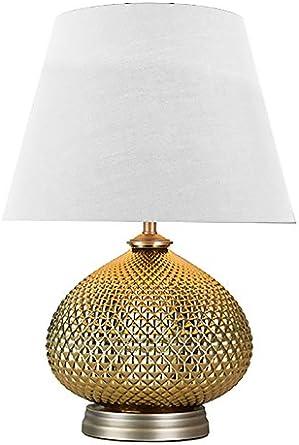 Verone - Lámpara de mesa, diseño clásico con pie de metal dorado y ...