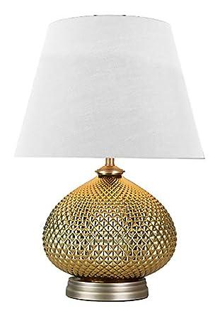 Verone - Lámpara de mesa, diseño clásico con pie de metal ...