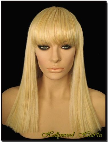 Amazon.com   Hollywood Hair4u - Straight Long 614H Platinum Blond Mix Wig  with Bangs Kanekalon Heat Resistant Synthetic Fiber Skin Top  NEW    Hair  ... 374fe4405350