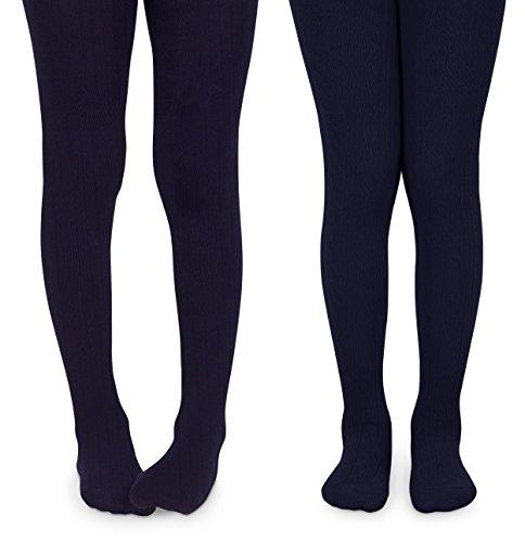 Jefferies Socks Girls School Uniform Cable & Rib Tight 2 Pack (10-14 Years, ()