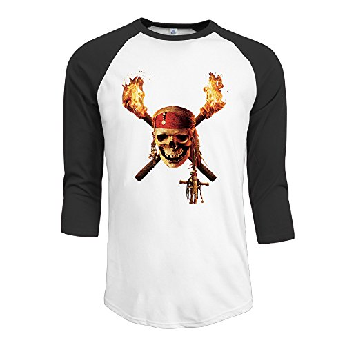 - Mens Pirates Skull Jerseys Baseball Raglan T Shirts