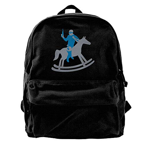- Rocking Horse Robber Unisex Classic Canvas Backpack,Unique Print Style,Fits 14Inch Laptop,Durable,Black
