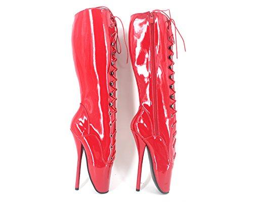 "Wonderheel appr.7"" Stilleto heel knee high ballet shoes red shiny sexy fetish lace up ballet boots"