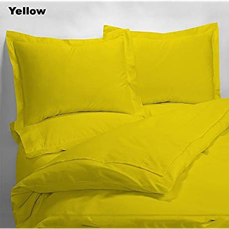 Luxury 600 Thread Counts 7pc Bed In A Bag Queen Size Yellow Solid 100 Egyptian Cotton By PARADISEHOUSE