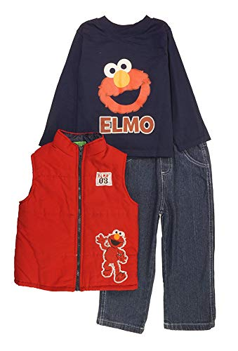 Sesame Street Little Boys' Toddler Elmo Three-Piece Vest & Pant Set, Red/Navy, 3T -