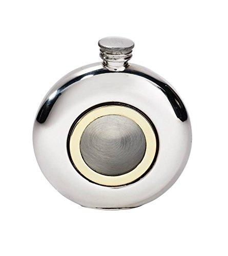 - Wentworth Pewter - Round Porthole Pewter Flask, Spirit Flask, 6oz Capacity