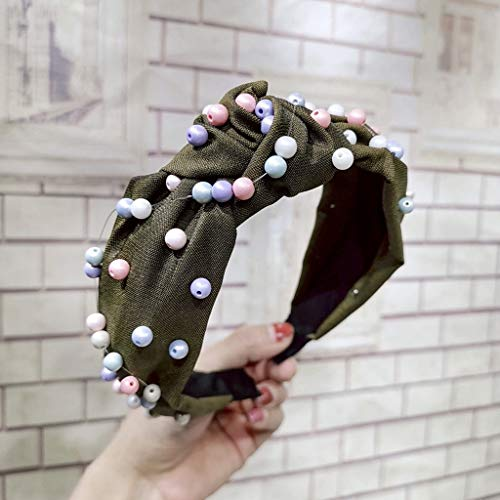 (Maikouhai 7cm Wide Womens Lace Bow Pearl Tie Beading Headband Twist Hairband Bow Knot Cross Tie Headwrap Hair Band Hoop Scrunchies (B Style, B))