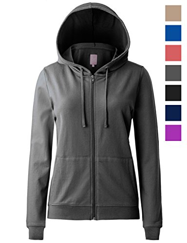 Regna X Women's Long Sleeve Drawstring with Pocket Zip up Hoodie Jacket Grey (Pockets Cotton Womens Hoodie)