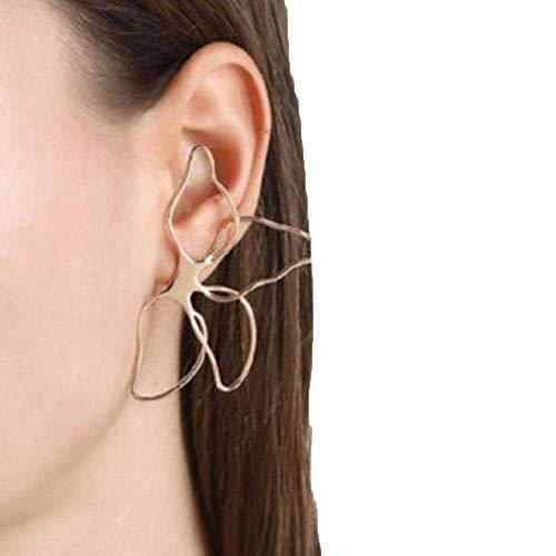 Trendy Big Hollow Butterfly Drop Dangle Earring for Women Girls Metal Geometric Pendant Earrings (Flowers)