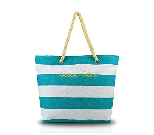 Borsa mare SABRINA T. 376904 modello marinaro in tessuto con manici in corda. MEDIA WAVE store ® (Azzurro)