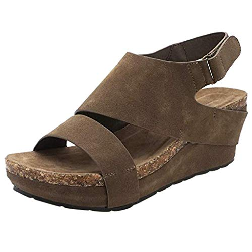 FengGa Wedges Roman Sandals Stylish Comfortable Platformed Open Toe Adjustable Ankle Cork Thick Bottom High Heels Khaki