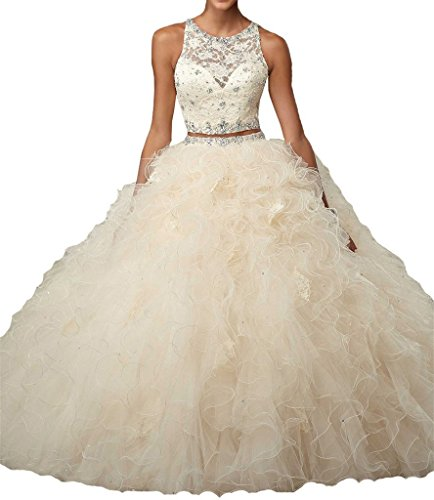 ALW Two Pieces Beaded Ball Gown Quinceanera Dress Ruffled Prom (Ruffled Wedding Gown)
