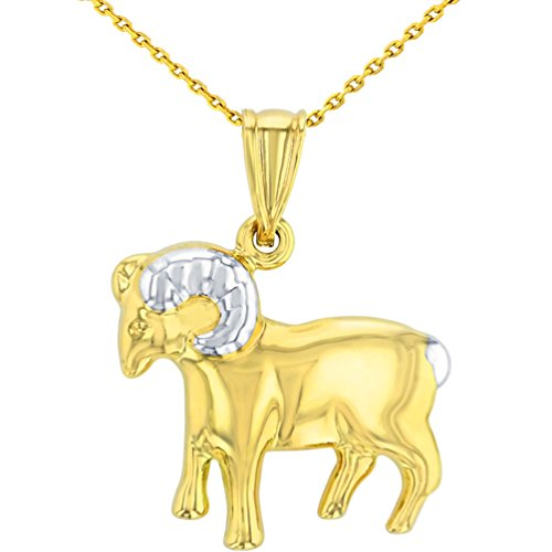 High Polish 14K Yellow Gold Aries Zodiac Sign Pendant Ram Charm Necklace, 18