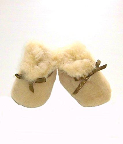 Alpacaandmore Unisex Krabbelschuhe, Babypuschen Leder und Alpakafell (3-6 Monate)