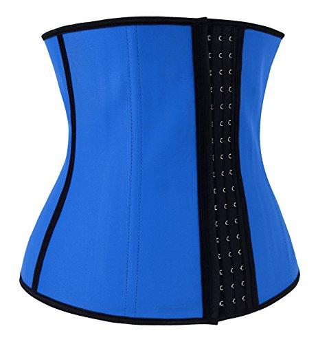 Charmian Women's Latex Waist Training Underbust corsé Weight Loss Body Shaper Azul