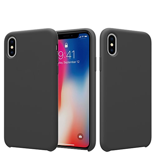 (CambayTech iPhone Xs Case, iPhone X Case, Liquid Silicone Gel Rubber Case Apple iPhone Xs & iPhone X/10, Slim Shockproof Phone Case Cover Protective Soft Microfiber Cloth Lining (Black))
